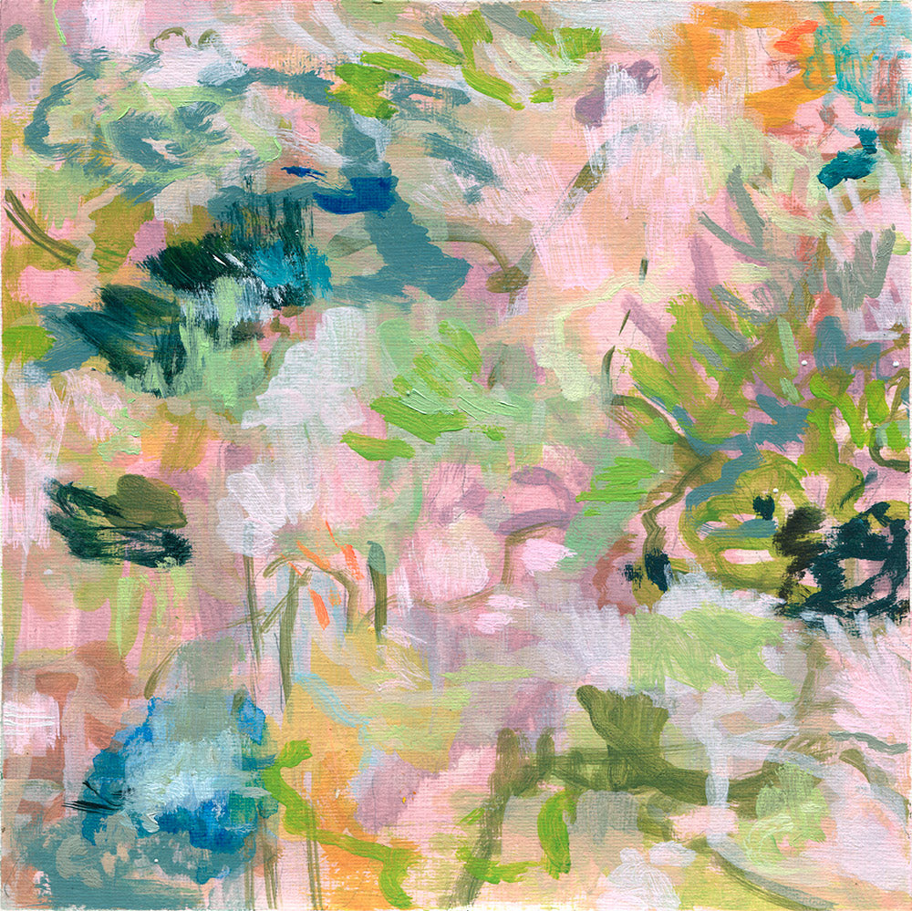 abstract landscape painting on paper pink olive lime blue purple green belinda marshall