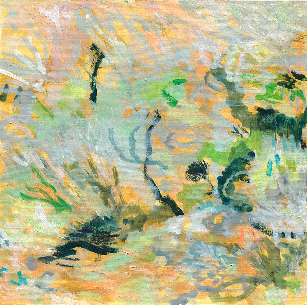abstract landscape painting on paper yellow black mustard green belinda marshall