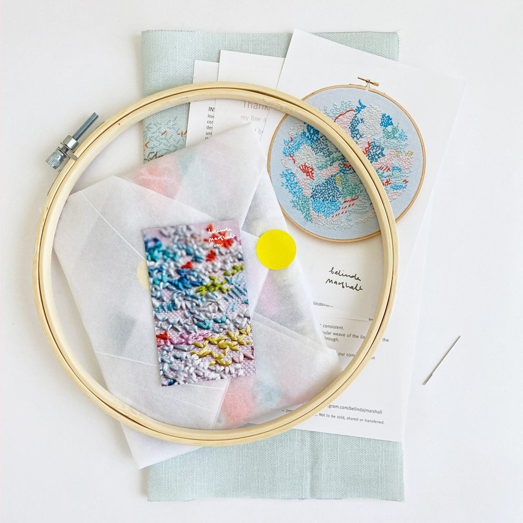 DIY Embroidery kit: 'small world 2' BLUE background