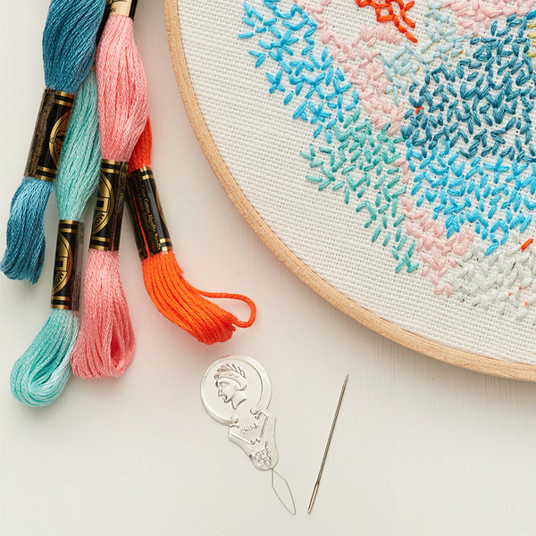 diy embroidery kit abstract wall art close up styled by belinda marshall