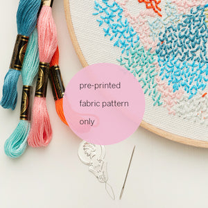 printed fabric embroidery pattern ~ 'Small world 2' ~ WHITE background