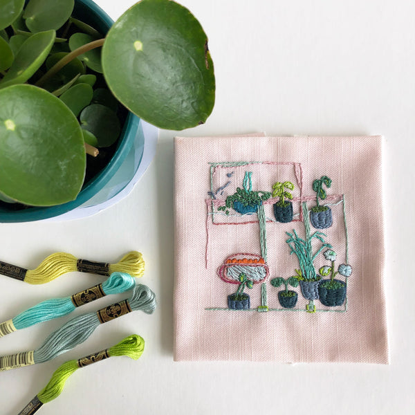 completed square embroidery belinda marshall plant collection embroidery floss dmc