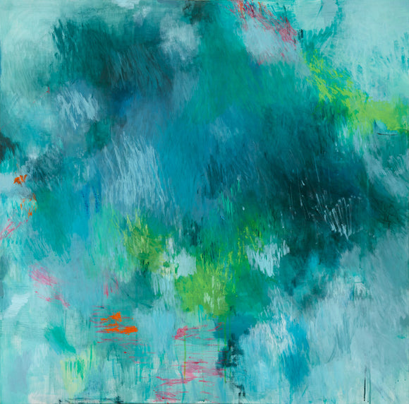 original abstract painting expressionist deep blue green square format belinda marshall
