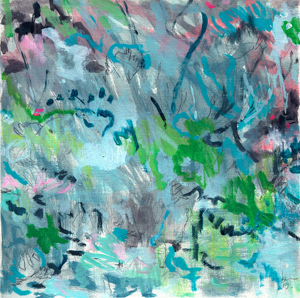abstract landscape painting on paper green black purple blue turquoise grey belinda marshall