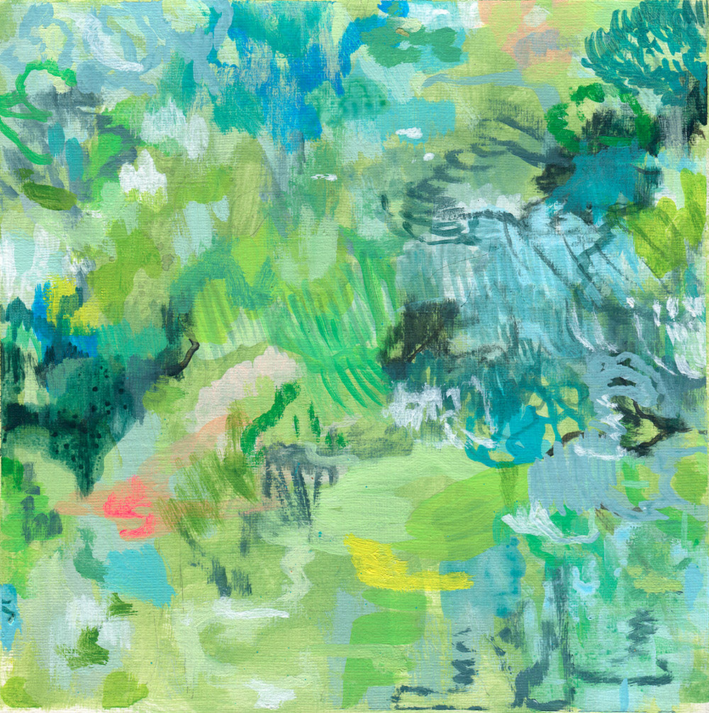 abstract landscape painting on paper green blue black yellow belinda marshall