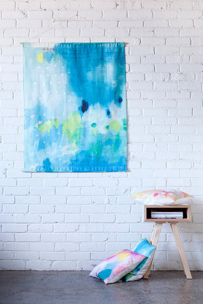 wall hanging insitu digitally printed cotton linen belinda marshall just one thing large