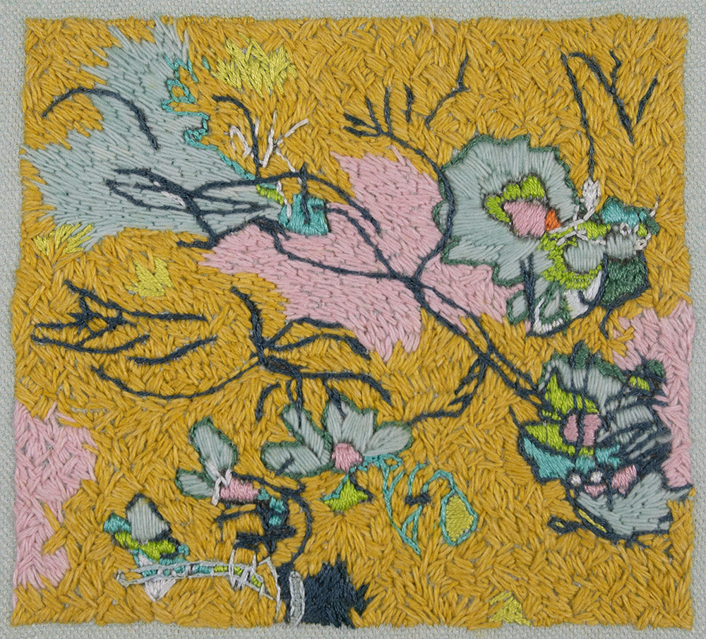 original embroidery artwork belinda marshall yellow mustard landscape plants flowers pink blue