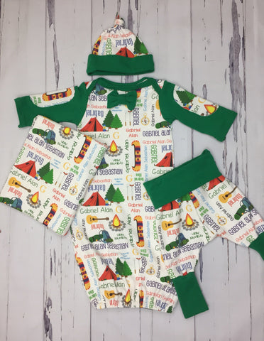 Personalized Lets Go Camping Gown Set