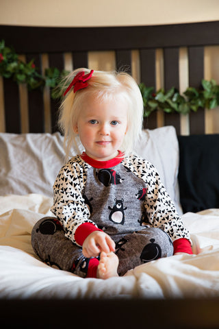 Christmas Pajamas - Winter Polar Bears with Hearts & Red cuffs