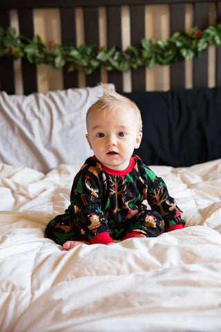 Christmas Pajamas - Black Christmas Woodland with Red
