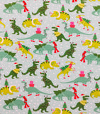 Christmas Pajamas - Christmas Dinosaurs with Pink & White Cuffs