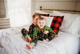 Copy of Christmas Pajamas - Black Christmas Woodland with Green & White Dots