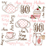 Personalized Tea Party Blanket & Burp Cloth Set