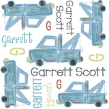 Personalized Classic Mechanic Tow Truck Blanket & Burp Cloth Set