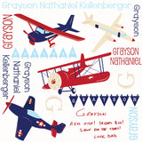 Personalized Classic Airplane Blanket & Burp Cloth Set
