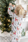 Christmas Pajamas - Grey Christmas Woodland with Black & White Striped Cuffs