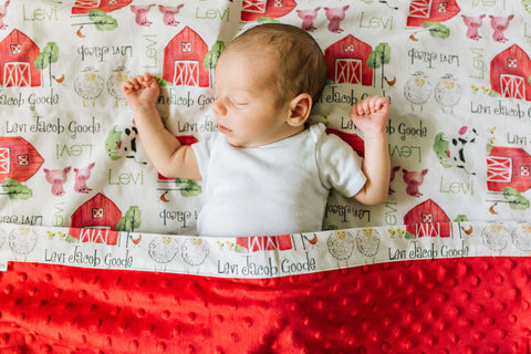 Personalized Farm Animal Blanket & Burp Cloth Set