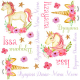 Personalized Floral Unicorn Blanket & Burp Cloth Set