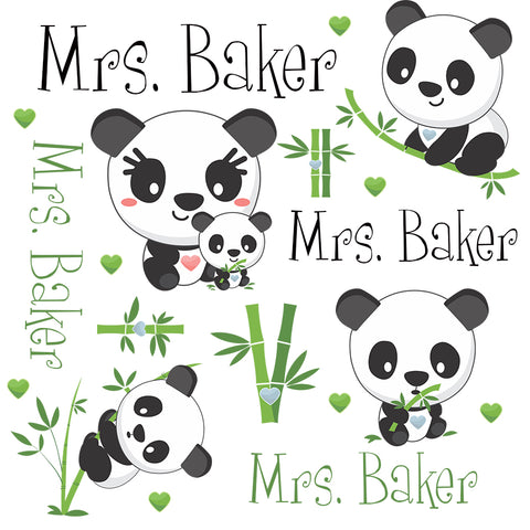 Personalized Panda Bear Blanket & Burp Cloth Set