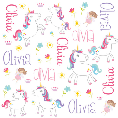 Personalized Unicorn Fairy Tail Blanket & Burp Cloth Set