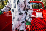 Christmas Pajamas - Bears and Pine with Green Dots