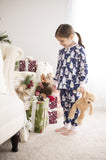 Christmas Pajamas - Navy Purple Yellow Penguins