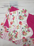 Personalized Pink Watercolor Floral Blanket & Burp Cloth Set