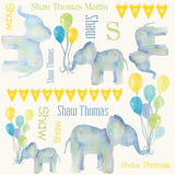 Personalized Watercolor Blue Elephant Blanket & Burp Cloth Set