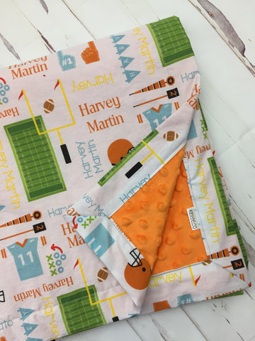Personalized Football Blanket & Burp Cloth Set