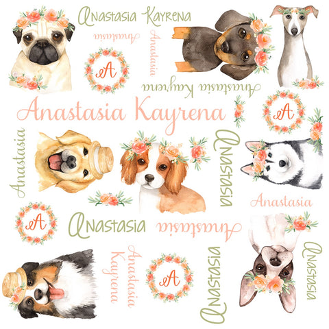 Personalized Puppy Dog Watercolor Blanket & Burp Cloth Set