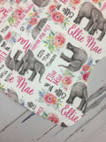 Personalized Elephant baby girl gift