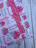 Personalized Pink Hawaiian Floral Blanket & Burp Cloth Set