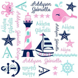 Personalized Sea Sailing Blanket & Burp Cloth Set