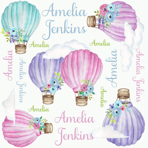 Personalized Watercolor Hot Air Balloon Blanket & Burp Cloth Set