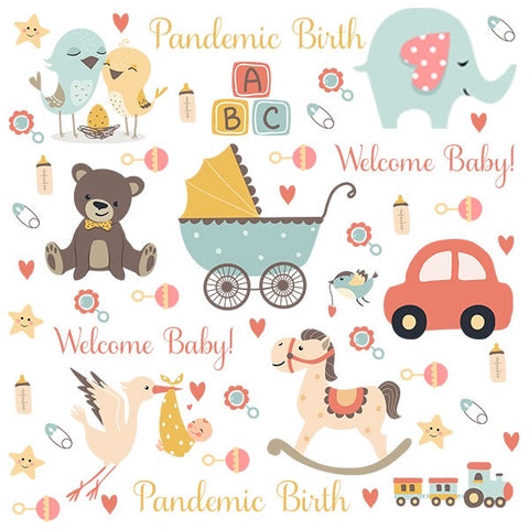Personalized Baby Themed Blanket & Burp Cloth Set