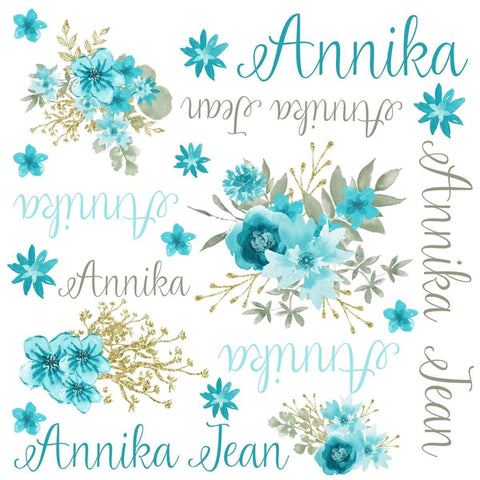 Personalized Gold & Teal Floral Blanket & Burp Cloth Set