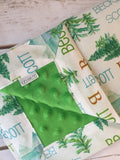 Personalized Mountain Pine Blanket & Burp Cloth Set