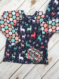 Christmas Pajamas - Navy Coral Deer