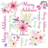 Personalized Purple Floral Gown Set