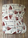 Personalized Sailboat Blanket & Burp Cloth Set