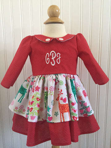 Madeline Dress: Monogrammed Polka Dot Reindeer Christmas Dress