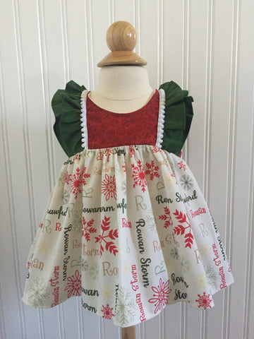 Bexley Dress: Personalized Red & Green Snowflake Christmas Dress
