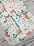 Personalized Mermiad Blanket & Burp Cloth Set