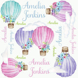 Personalized Watercolor Hot Air Balloon Gown Set