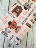 Personalized Animal Hipster Blanket & Burp Cloth Set