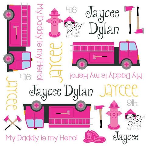 Personalized Pink Firefighter Blanket & Burp Cloth Set