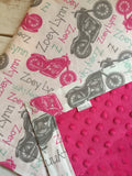 Personalized Motorcycle Blanket & Burp Cloth Set
