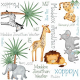 Personalized  Watercolor Jungle Blanket & Burp Cloth Set