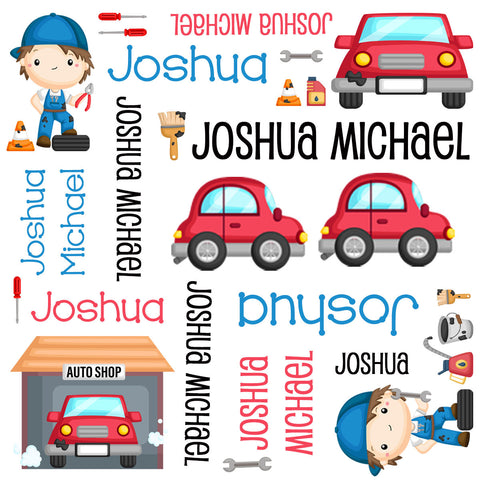 Personalized Mechanic Car Blanket & Burp Cloth Set