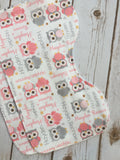 Personalized Owl and Stars Blanket & Burp Cloth Set
